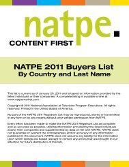 NATPE 2011 Buyers List By Country and Last Name