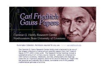 Carl Friedrich Gauss Papers - Library - Northwestern State University