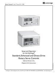 Hardinge Rotary Servo Control User Manual B-158B - Hardinge Inc.
