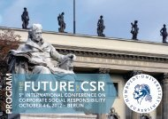 PROgRAm STRUCTURE - 5th CSR-Conference