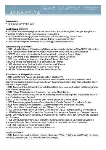 lebenslauf lang pdf anna spina - Lnge Lebenslauf