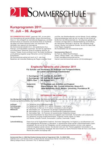 Kursprogramm 2011 11. Juli – 06. August - Sommerschule Wust