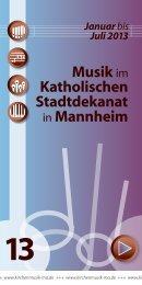 Mannheim Januar bis Juli 2013 - Kath. Bezirkskantorat