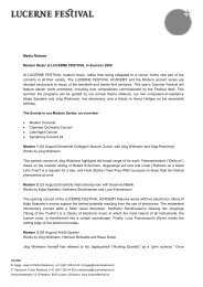 Media Release Modern Music at LUCERNE FESTIVAL in Summer ...