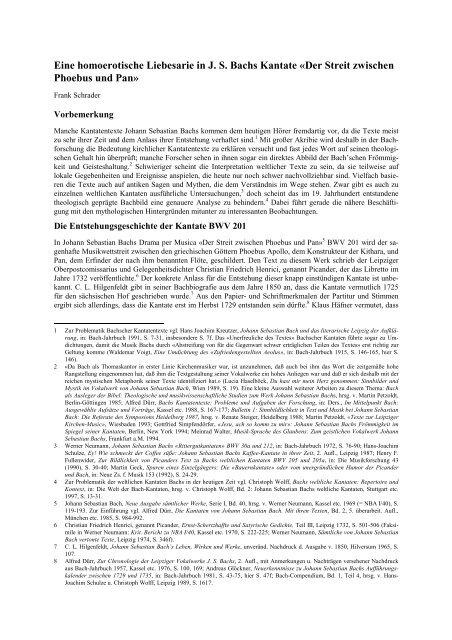 Eine homoerotische Liebesarie in J. S. Bachs Kantate «Der Streit ...
