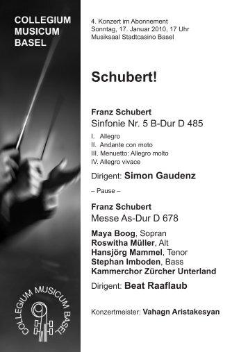 Schubert! - Collegium Musicum Basel