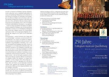 250 Jahre Collegium musicum Quedlinburg