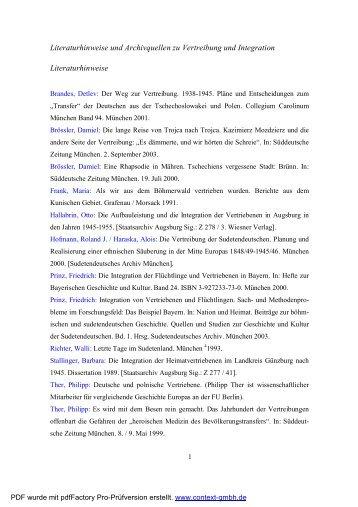 Literatur Archivquellen Vertreibung