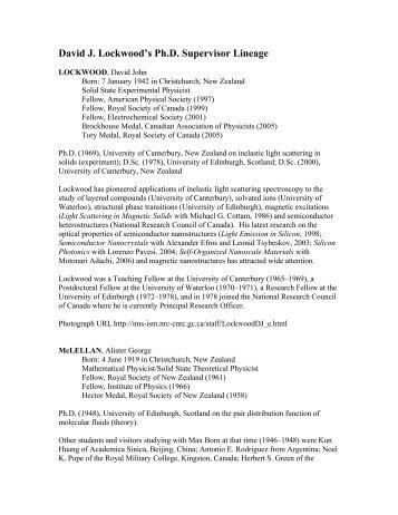 David J. Lockwood's Ph.D. Supervisor Lineage - Canadian ...