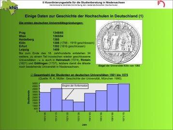 Einige Daten zur Geschichte der Hochschulen in Deutschland (2)