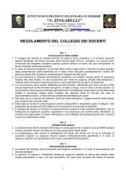 regolamento del collegio dei docenti - N. Zingarelli