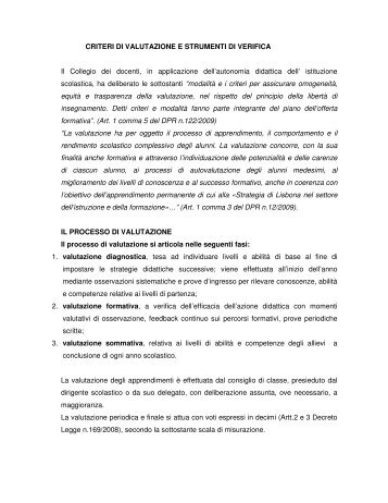 CRITERI DI VALUTAZIONE E STRUMENTI DI VERIFICA Il Collegio ...