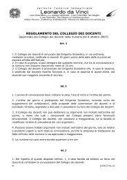 REGOLAMENTO DEL COLLEGIO DEI DOCENTI