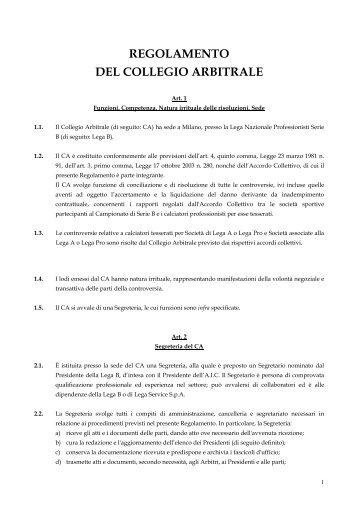 REGOLAMENTO DEL COLLEGIO ARBITRALE - Diritto Calcistico
