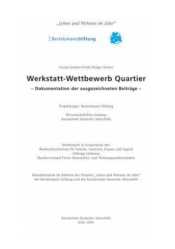 Werkstatt-Wettbewerb Quartier - Kuratorium Deutsche Altershilfe