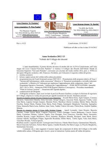 Verbale del Collegio docenti n° 2 - Liceo magistrale