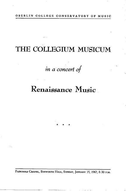 In A Concert Of Collegium Musicum