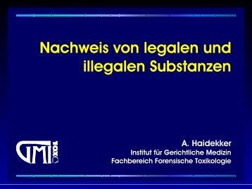 Nachweis von legalen und illegalen Substanzen