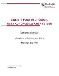 Broschüre - Informationen zur Errichtung einer Stiftung