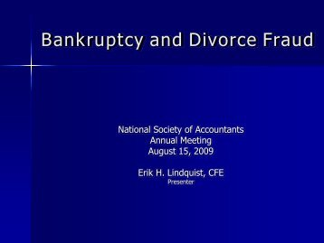 Fraud in Bankruptcy and Divorce - CommPartners