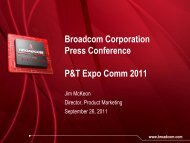 Broadcom Networking Service Provider Solutions: Key Product Update