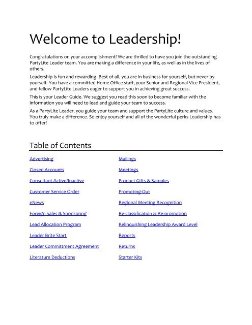 Leader Guide Partylite Consultant Business Center