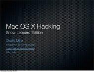 Mac OS X Hacking - Independent Security Evaluators
