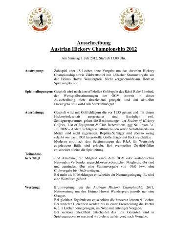 Ausschreibung Austrian Hickory Championship 2012