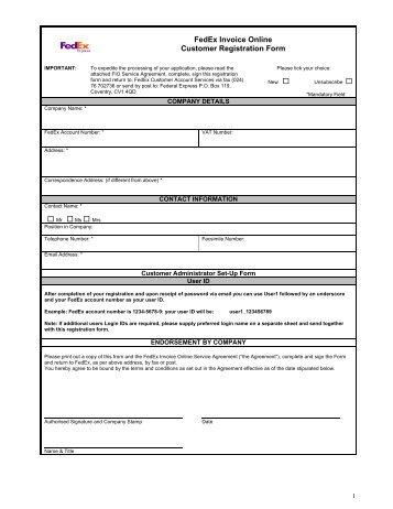 fedex invoice online registration form