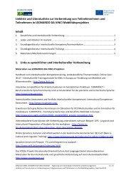 Linkliste und Literaturliste zur Vorbereitung von ... - NA-BIBB
