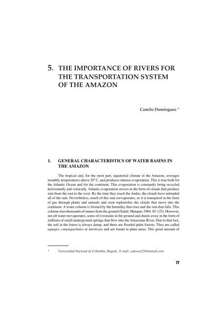 5  the importance of rivers for the transportation system of