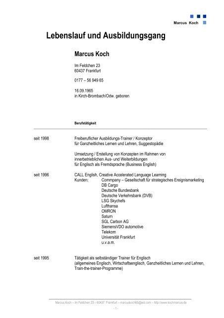 Lebenslauf Und Ausbildungsgang Marcus Koch