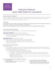 Preferred Program Overview - PartyLite Consultant Business Center