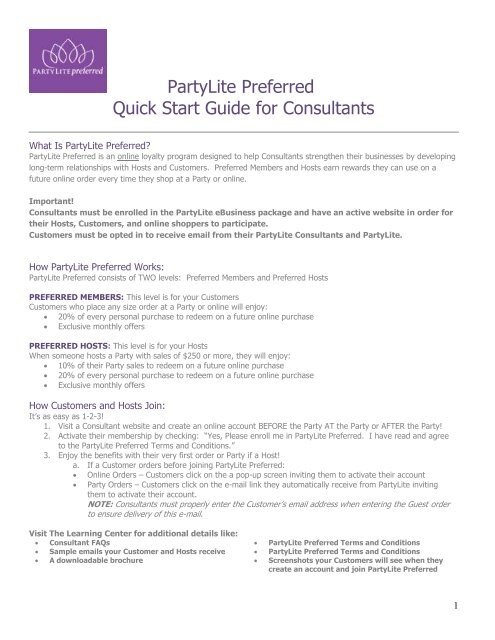 Preferred Program Overview Partylite Consultant Business Center