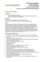 E6 Protokoll Common Purpose Workshop 22.10.10 - Bildung durch ...