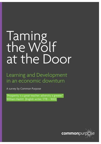 Taming the Wolf at the Door - Common Purpose