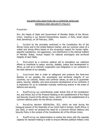 Solemn Declaration on a Common African Defence - African Union