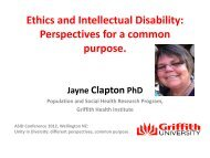 Ethics and Intellectual Disability: Perspectives for a common purpose.
