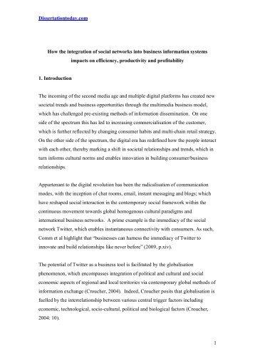 Dissertationtoday.com 1 How the integration of social networks into ...