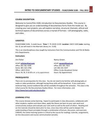Intro to doc studies film/comm 3100 - humis.utah.edu - University of ...