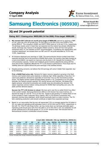 Samsung Electronics (005930) Michael Hoosik Min