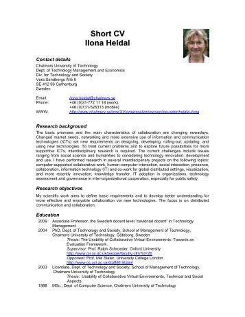 Ilona Heldal - CV - Global Systems Dynamics and Policy