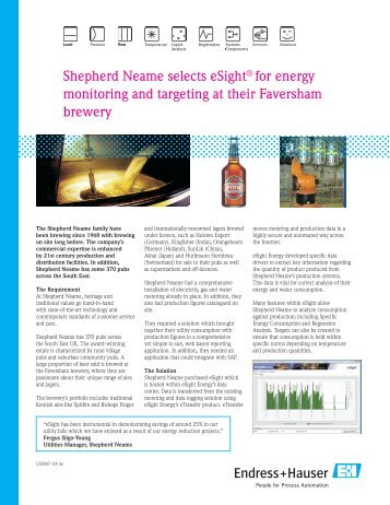 Shepherd Neame selects eSight® for energy ... - Endress+Hauser