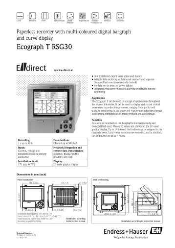 Ecograph T RSG30 - E-direct Shop Endress+Hauser Deutschland