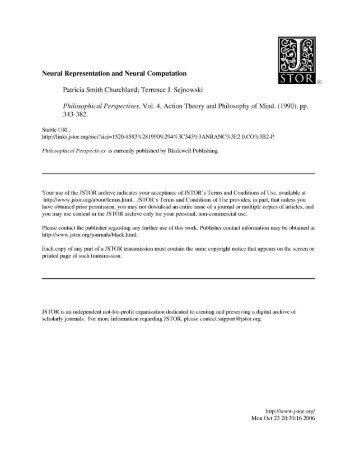 Neural Representation and Neural Computation Patricia Smith ...