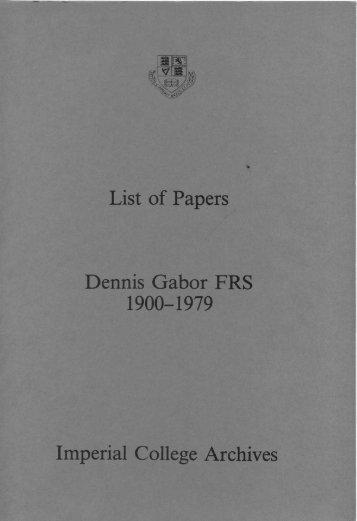 Professor DENNIS GABOR,cBE.FRS - Imperial College London