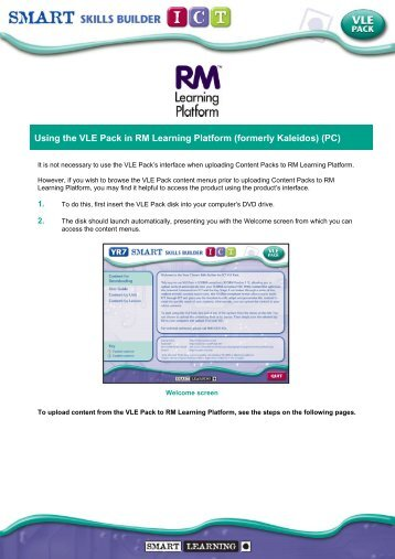 Using the VLE Pack in RM Learning Platform (formerly Kaleidos) (PC)