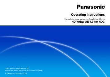 HD Writer AE for HDC Operating Instructions - Panasonic