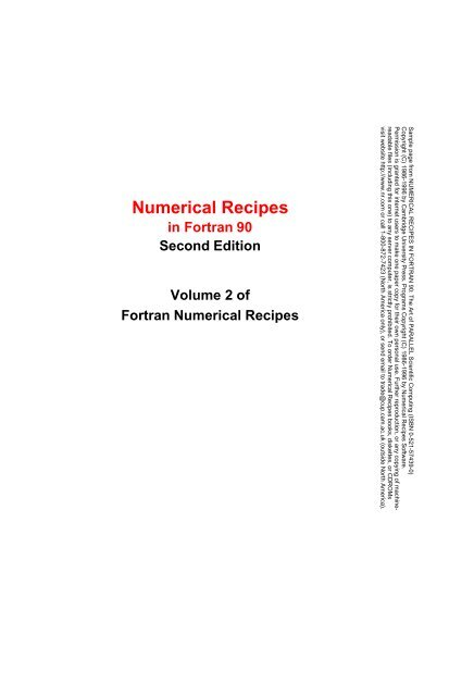Numerical Recipes in Fortran 90 pdf - AstroPhysics and