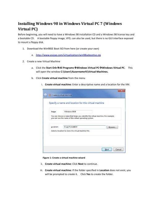 Installing Windows 98 in Windows Virtual PC 7 - esSJae com